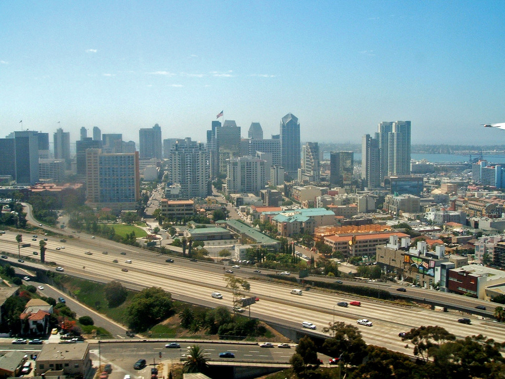 San Diego skyline from the air.
