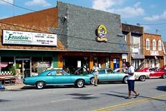 Main Street, Tucker Georgia (mjn9) Tags: cars ga georgia mainstreet tucker streetscape classiccars automobiles flickrchallengegroup oldtuckerfountain rotagilla