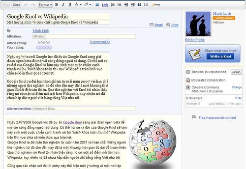 Giao diện soạn thảo của Google Knol