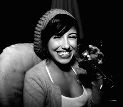 (monsters.monsters) Tags: portrait bw woman glass girl laughing gallo wine candid ej tipsy