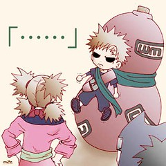 Gaara chibi......CUTENESS!!! (anime27fan [gone...]) Tags: cute kid sand funny lol chibi gaara temari kankuro