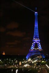 Eiffel Tower wearing Europe colors