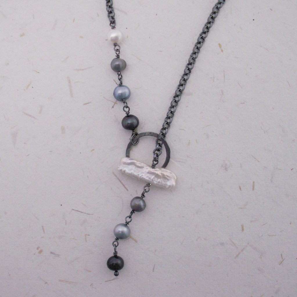 Shades of Blue and Gray . Lariat Necklace