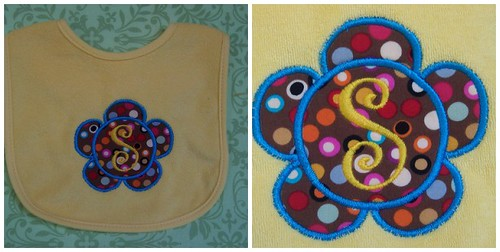 Flower Applique Monogrammed Bib