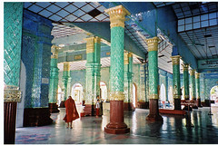Kyauktawgyi Paya Temple with colored glass artwork, Mandalay, Myanmar / Burma (Boonlong1) Tags: travel light color building art glass architecture temple mirror asia southeastasia burma religion pillar culture mirrors monk holy exotic sacred myanmar column burmese mandalay cultural placeofworship houseofworship 5photosaday exoticplace