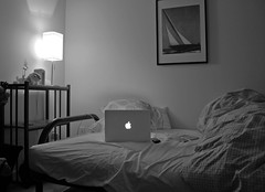 The only thing missing is *you* (Chapendra) Tags: blackandwhite bw ikea apple bed mac grayscale futon bedding macbook