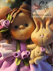 doll - Rita and her pet bunny (marytempesta) Tags: pink roses cute bunny hearts ruffles friendship sweet handmade romance polymerclay fimo clay dolly rosebuds polymer