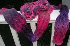 Lace Ribbon Scarf - Progress (Pink Knitter) Tags: pink purple knitty noro loopyewe norokureyonsockyarn laceribbonscarf