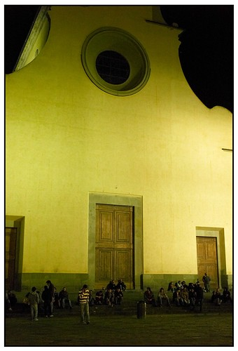 Sitting and Drinking Outside Santo Spirito at Night