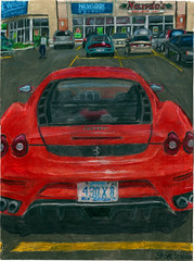 A coloured pencil drawing of the rear of a Ferrari F430 Berlinetta. (Steve Brandon) Tags: auto ontario canada art car geotagged restaurant parkinglot automobile artist arte drawing ottawa fineart fastfood ferrari voiture dessin suburb nepean coloredpencils prismacolor  stripmall grafica sportscar f430 redcar franchise pencilcrayon ferrarif430 luxurycar stationnement exoticcar   berlinetta colouredpencils italiancar   foodbasics   illustrazione redcarnation    optometrists merivaleroad  merivalerd ruemerivale cheminmerivale   newlookeyewear nandosflamegrilledchicken ottawaartist automobileart ferraridrawing grottiturismo ferrarif430drawing ferrariart ferrari360drawing illustrazioneferrari nandoflamegrilledchicken