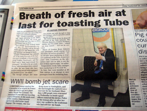 Boris gives air conditioned Tube thumbs up