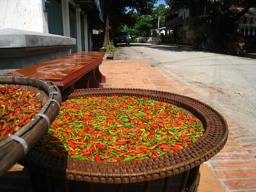Red and green chili peppers left to dry in the sun