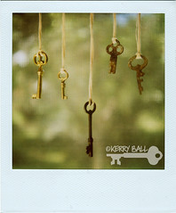 five vintage keys. ((Kerry Ball)) Tags: keys polaroid key hanging polaroids 600film skeletonkeys rustykeys sx70sonar antiquekeys vintagekeys hangingbyastring hangingseries fivekeys