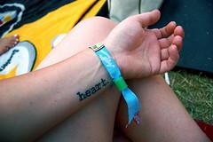 Wrist. (summer anne) Tags: summer me tattoo hand heart ofme wrist wristband aclfest austincitylimits zilkerpark summeranne acl08 aclfest2008