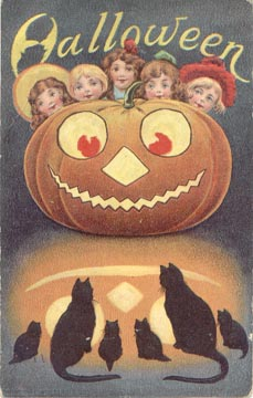 Halloween Pumpkin Black Cats (by senses working overtime)