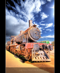 Choo Choo :: HDR (:: Artie | Photography ::) Tags: old sky classic clouds train photoshop canon vintage lights ancient cs2 cloudy transport rusty australia wideangle dirty steam handheld adelaide 1020mm southaustralia hdr steamtrain artie train 3xp sigmalens photomatix tonemapping tonemap rebelxti rusty
