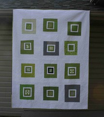 what a bunch of squares (crazymomquilts) Tags: white green grey quilt patchwork denyseschmidtinspired