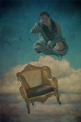 Fear Not the Fall (erin.marie.hall) Tags: selfportrait birds clouds flying chair sleep dream surreal textures dali