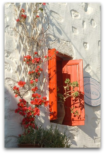 Red window in Chora. Amorgos Island. Greece.