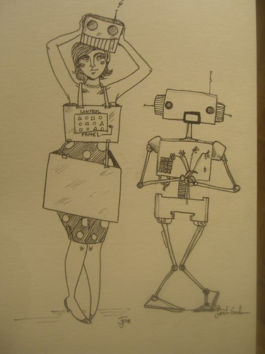 Sketch of pretend robot-girl and a robot