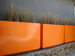 Cubedec B2 - Powder Coated Orange (Badec Bros Deco) Tags: designer trellis made barcode custom benches decor bros sculptures teak gabion badec cubedec