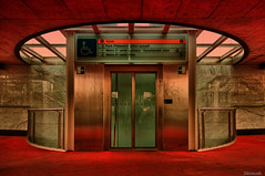 Strizkov, Prague (Stevacek) Tags: red metal underground subway nikon shiny prague metro metallic prag wideangle praha praga chrome scifi hdr tiffen d300 sigma1020 strizkov stkov