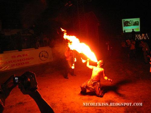 fire breathing man