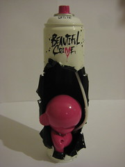 Beautiful Crime - montana munny 1/10 (farkfk) Tags: pink white black art stencil montana fark vinyl spray kidrobot shock custom limited fk splat munny farkfk eelus beautifulcrime