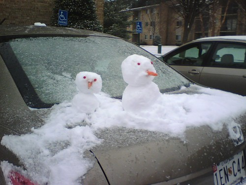 Snowmen on the Car next to me at home
