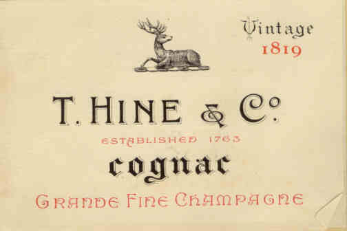 Hine vintage label from 1819