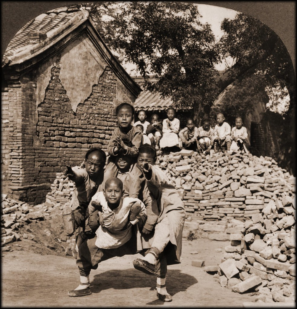 Peking Mission School Children At Play, The Dragon's Head, China [1902] Carlton H. Graves Co [RESTORED]