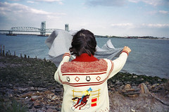 (sea kay) Tags: bridge friends horse ny film girl brooklyn 35mm back sweater spring rocks picnic rebecca flag magic secretbeach scan blanket gothamist