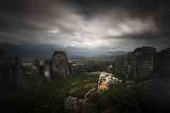 (in the heavens above) (songallery) Tags: longexposure cloud blur heritage rock dark landscape landscapes atmosphere explore greece monastery ambient kalambaka rousanou explored metora d3x