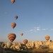 Balloons after take off - Goreme, Cappadocia, Turkey