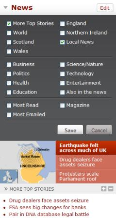 BBC homepage - customise modules