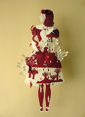 Paper Sculpture (Red and White) (Elsita (Elsa Mora)) Tags: flowers original red sculpture woman white texture nature colors girl leaves fashion paper one doll dress handmade cut snake decorative surreal scene kind etsy elsa mora elsita