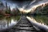 What Lies Beneath (BarneyF) Tags: wood sunset sky lake france reflection tree dusk jetty hdr firstquality lacitadelle