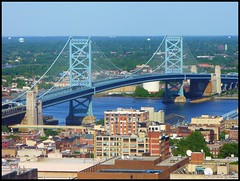 Benjamin Franklin Bridge (Harpo42) Tags: travel bridge blue philadelphia newjersey view suspension camden horizon nj east pa commute philly benjaminfranklin patco delawareriver portauthority oldecity drpa bfbridge