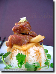 Vietnamese style stewed pork with coconut meat