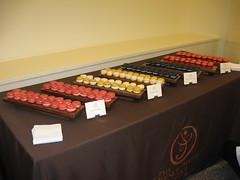 Pierre Hermé: The macaron table - Macaron Ispahan, Macaron Satine, Black Truffle Macaron, Chocolate and Foie Gras Macaron