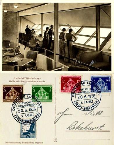 Postal interior del Hindenburg 20 de junio de 1936