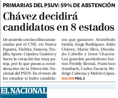 El Nacional, fiel a su línea editorial frenopática