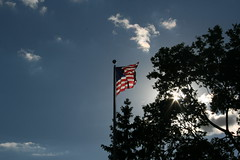 American flag over Library Square
