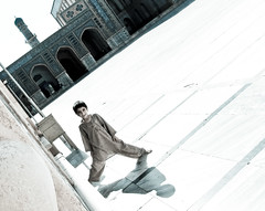Boy inside the blue mosque