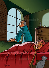 rain dear (Cherished Solutions, llc) Tags: christmas cat bed oldman oldwoman oldcouple archingwindow