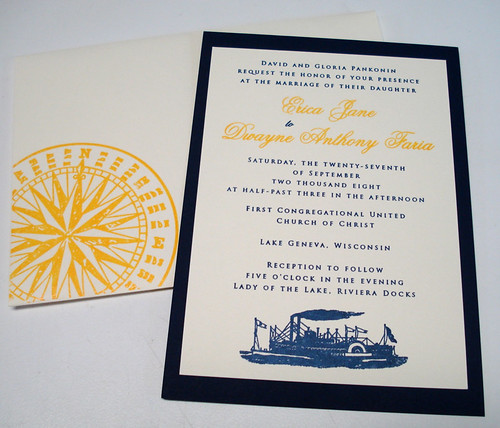 Wedding Invitations - Erica and Dwayne, Ship Wedding Invitations, wedding cakes, flowers, invitation, photos, gowns, dresses