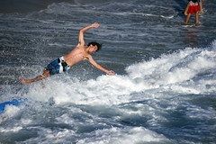 Launched Off a Skimboard (EthnoScape) Tags: california pier upsidedown flip oceanside boardshorts skimboarding flips skimboard skimboarders skimboarder skimboards