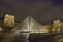 The Louvre (GerardKremer) Tags: travel winter paris france cold museum architecture night nikon long exposure louvre museo francia pyramide viaggi notte architettura hdr parigi piramide singleraw peachofashot