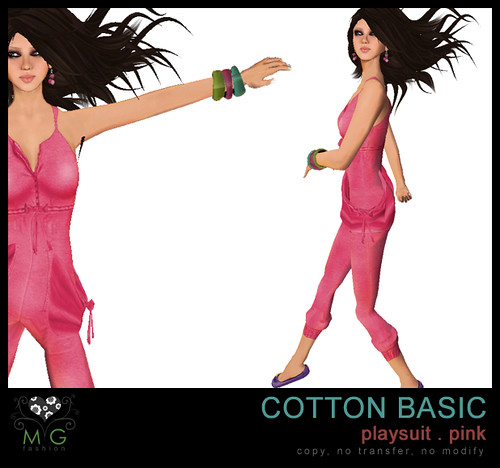 [MG fashion] Cotton Basic Playsuit (pink)