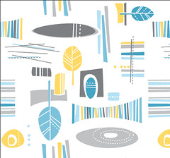 odetobarkcloth (juneprints) Tags: blue yellow teal gray retro atomic barkcloth fabricdesign spoonflower